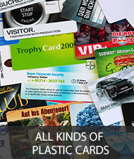 All kinds of plastic cards and chip cards