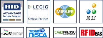 Official partners HID Global, Legic, NXP Mifare, Jolly Tech, Swiftcolor, Nisca, Cardpresso, RFIDEAS
